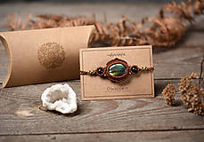 Náramky - ☽ Pletený náramok s kameňom Labradorit ☾ - 12512159_