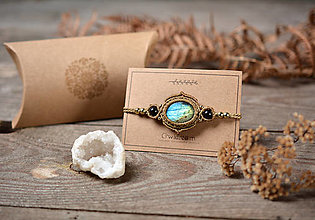 Náramky - ☽ Pletený náramok s kameňom Labradorit ☾ - 12512121_