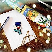 Magnetky - ★ Vianočná magnetka cartoon - snehuliak (hlava) - 12511213_
