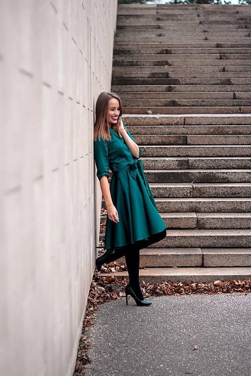Šaty - MIA, košilové šaty s narameníky, smaragdově zelená - 12516209_