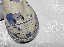 Obuv - Papuče sovičky modré na konári - 12519271_