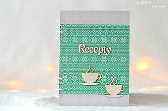 Papiernictvo - Receptárik (pletený, so šáločkami) - 12519763_