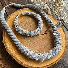 Sady šperkov - Set - šedé lano s růženínem a křišťálem - 12515634_