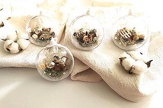 Dekorácie - Vianočné gule 4 ks bielo zlaté - 12514246_