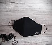 Rúška - Pánske rúško XL s postriebreným drôtom, čierne, motorka, ornament - 12517250_