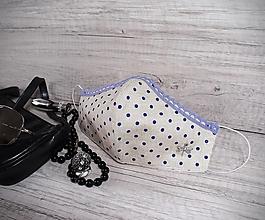 Rúška - Dámske rúško s postriebreným drôtom, krajkou, vážkou - 12516559_