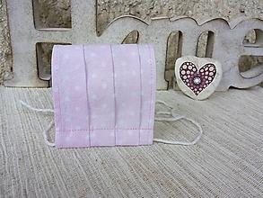 Rúška - Rúško detské jednovrstvové od 14 do 17 cm (Biele bodky na ružovej) - 12516265_