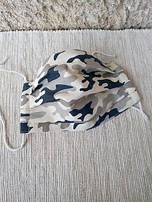 Rúška - Rúško detské jednovrstvové od 14 do 17 cm (Maskáče béžové) - 12516288_