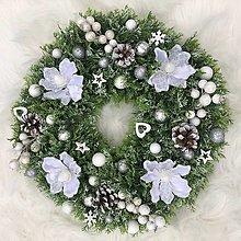 Dekorácie - ZĽAVA - Maxi vianočný veniec biely s kvetmi - 12518769_