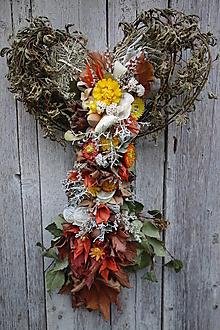 Dekorácie - Jesenná prírodná dekorácia srdce - 12524168_