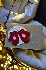 Papiernictvo - Vianočné prianie - 2 v 1 - s filcovými rukavičkami - 12522878_