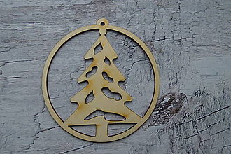 Dekorácie - Drevená vianočná ozdoba - stromček - 12521756_