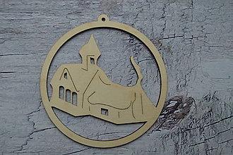 Dekorácie - Drevená vianočná ozdoba - kostolík - 12521815_