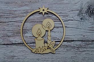 Dekorácie - Drevená vianočná ozdoba - sviečky - 12524189_