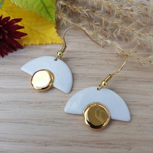 porcelánové náušnice ∣ zlato, pozlátený háčik