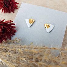Náušnice - porcelánové náušnice   zlato, chirurgická oceľ - 12525140_