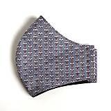Rúška - Pánske rúško tvarované, 100 % bavlna (Sivé s čiernymi bodkami (pánska veľkosť)) - 12523285_