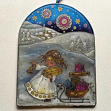 Dekorácie - Hodvábny obrázok - Vianočný anjel - 12519840_