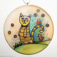 Dekorácie - Hodvábny obrázok, kruh - Pásikavá mačička - 12525250_