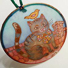 Dekorácie - Hodvábny obrázok, kruh - Mačka na streche - 12525408_