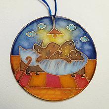 Dekorácie - Hodvábny obrázok, kruh - Hnedý psík chrapkajúci - 12525461_