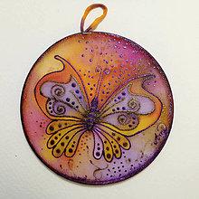 Dekorácie - Hodvábny obrázok, kruh - Motýľ - 12525473_
