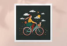Grafika - Na kole - umělecký tisk - 12526695_