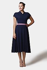 Šaty - Šaty Midi modré so stojačikom - 12527216_