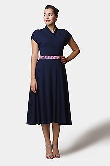 Šaty - Šaty Midi modré so stojačikom (38) - 12527216_