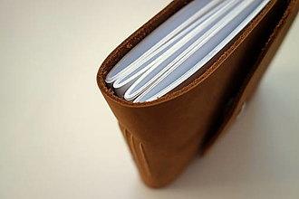 Papiernictvo - Kožený fotoalbum 13x16 cm hnedý- nubuk - 12528933_