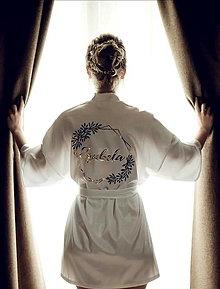 Pyžamy a župany - Luxusný svadobný župan Afrodita-Greenery - 12530561_