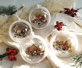 Dekorácie - Vianočné gule 4 ks woodland - 12528884_
