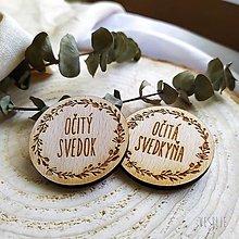 Pierka - Drevený svadobný odznak . lúčne kvety - 12527584_