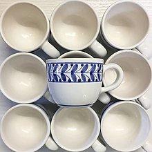 Nádoby - Šálek lungo větvička modře malovaná bílý (šálek s podšálkem) - 12527588_