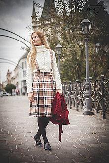 "Sukne - Sukňa ""Autumn Simplicity"" károvaná hnedá - 12526420_"