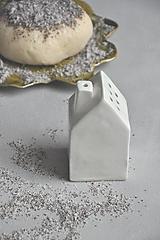 Nádoby - Cukornička dom bielo- zlatá  (Biela) - 12528292_