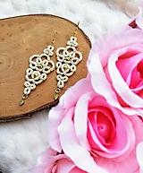 Náušnice - Náušnice s čipkou zlaté - 12530016_