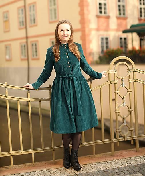 Šaty - Menčestrové šaty, zelené - 12529516_