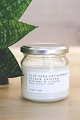 Svietidlá a sviečky - Sójová Aloe vera sviečka - antialergent (MINIMALISTICKÁ ETIKETA) - 12528118_