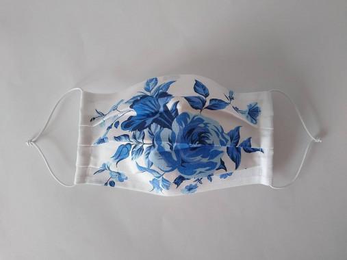 Rúško modrá ruža jednovrstvové/dvojvrstvové