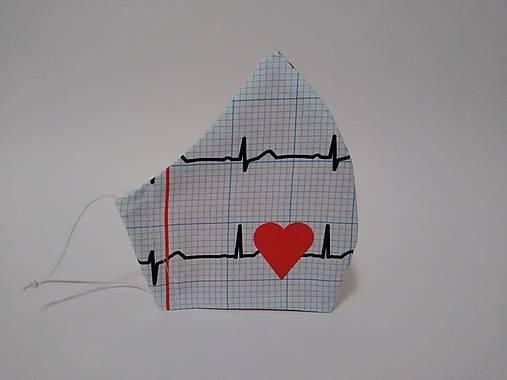 Dizajnové rúško EKG nové tvarované dvojvrstvové