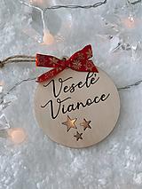 Dekorácie - Vianočná ozdoba Veselé Vianoce (S mašličkou) - 12532353_
