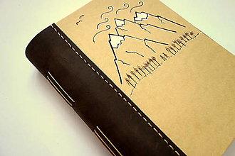 """Papiernictvo - Diár Ručne šitý KRESLENÝ * zápisník * sketchbook ,,Mountains"""" A5 s koženým chrbtom - 12533532_"""