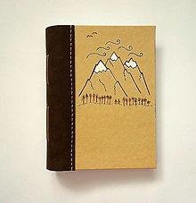 """Papiernictvo - Diár Ručne šitý KRESLENÝ * zápisník * sketchbook ,,Mountains"""" A5 s koženým chrbtom - 12533534_"""