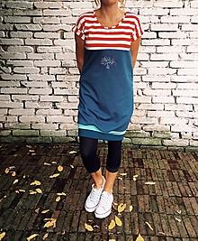 Šaty - Modré - oversized, výšivka - 12534113_