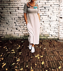 Šaty - Šedé mušelínové - oversized - 12534120_