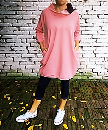 Šaty - Starorůžové oversized,kapsy - jiné barvy na přání - 12534165_