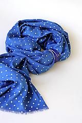 """Šatky - Dámska modrá bodkovaná šatka z ľanu """"Paris"""" - 12532415_"""