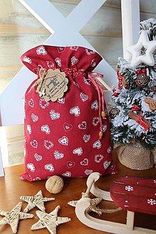 Úžitkový textil - Vianočné vrecko srdiečkové - 12532998_