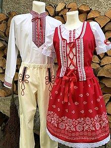 Iné oblečenie - Rodinný folklórny komplet v červenom ladení - 12536617_